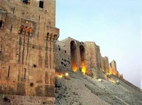 Citadelle de la ville de Alep en Syrie au Moyen-Orient