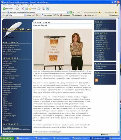 Exemple de la page profil gratuite sur MaChronique.com