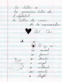 En graphologie la lettre ( a ) minuscule  se veut le témoin de notre affectivité.